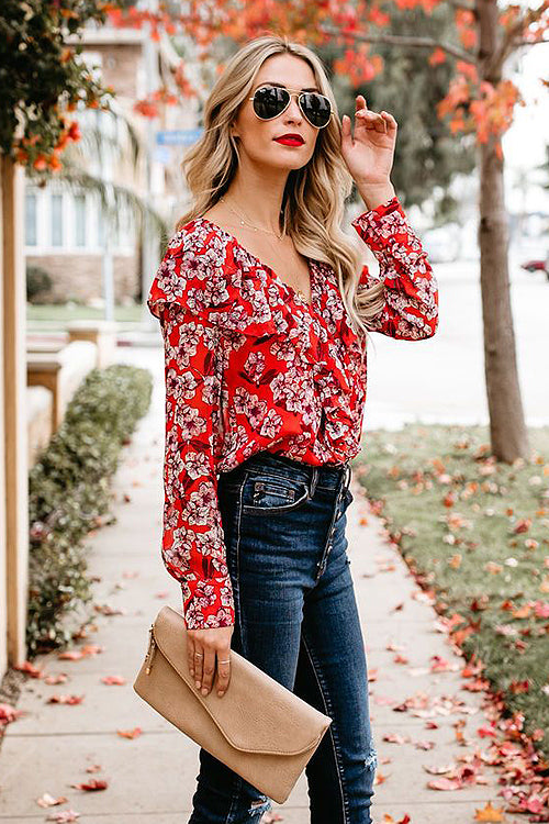 Holiday Essential Print Ruffle Up Shirt - 4 Colors