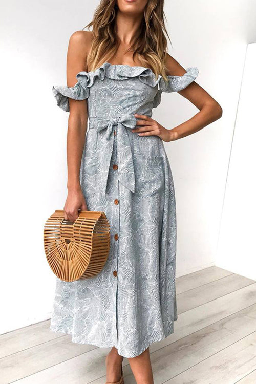 Beautiful Day Ruffle Shoulder Button-Up Midi Dress - 6 Colors