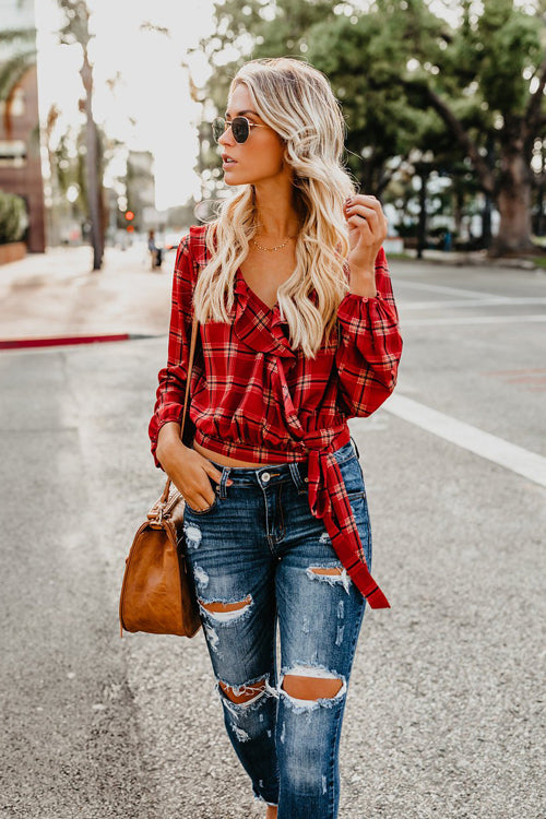 Back to School Tartan Ruffle Shirt - 2 Colors