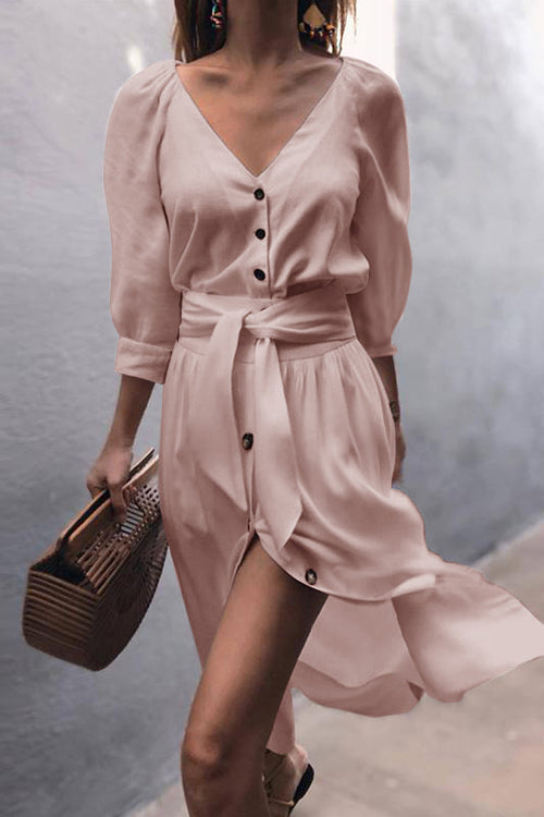 Chic Love Princess Button Ties-Up Midi Dress - 4 Colors