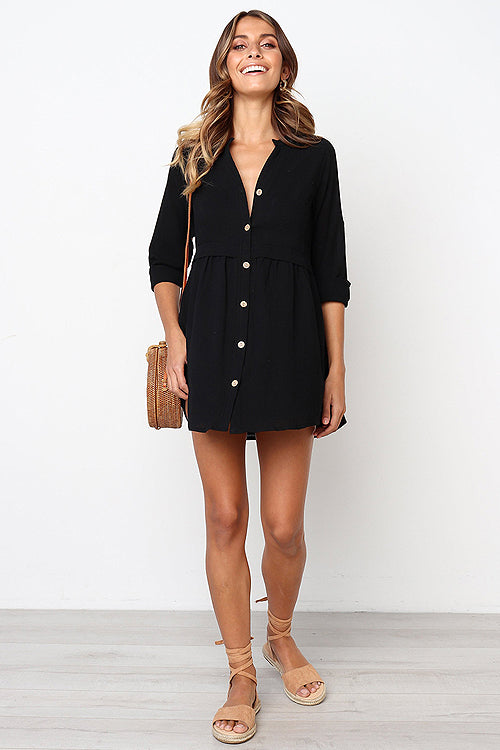Next to You Button-Up Shirt Mini Dress - 4 Colors