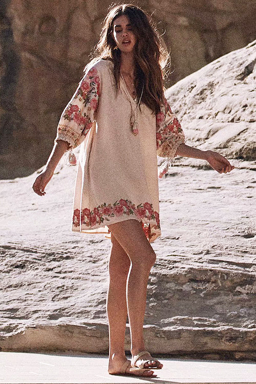 Catch Your Wave Vintage Embroidery Tassel Mini Dress