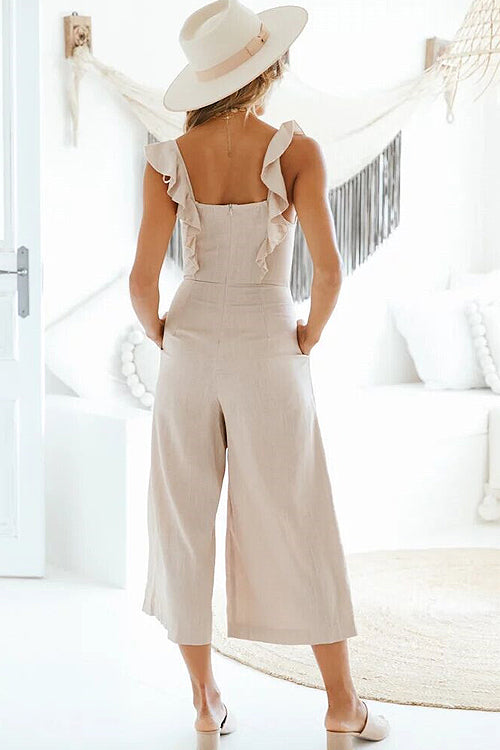 Ruffle Sleeve Khaki Button Jumpsuit