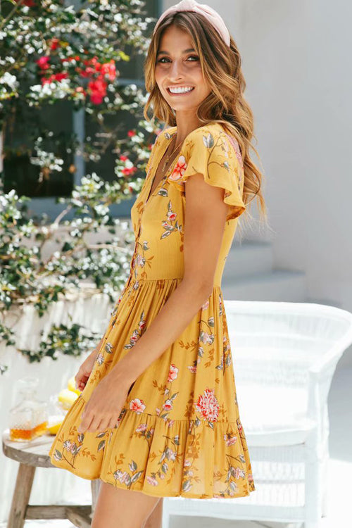 Bright Yellow Sunkissed Print Dress