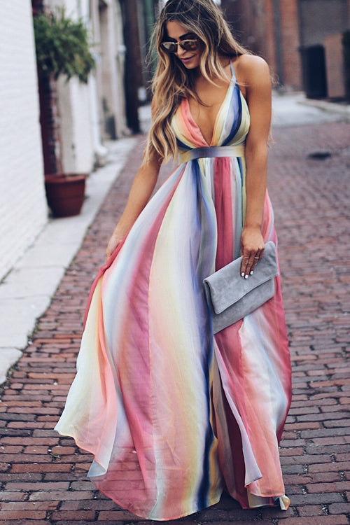 Boho Rainbow Color Crossback Maxi Dress