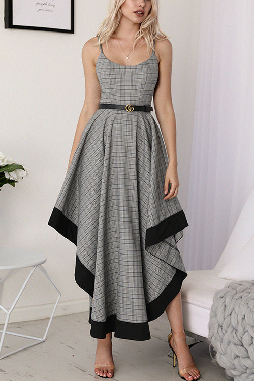 Magic Grey Tartan Irregular Hem Maxi Dress