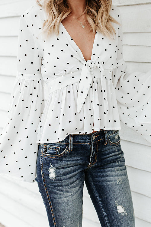 In a Whisper Polka Dots Blouse