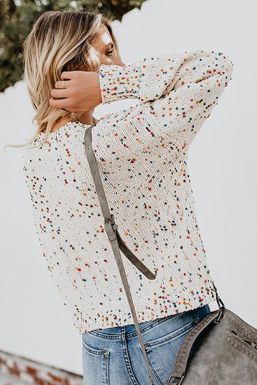Slay All Day Colorful Dots Knit Sweater