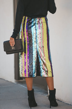 Light Up the Night Sequin Midi Skirt