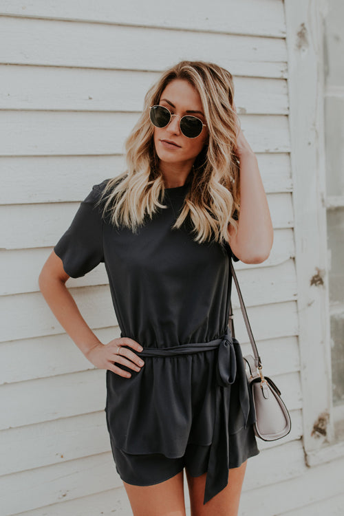 Kitty Black Tie-waist Short Sleeve Romper