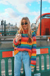 Travelling Light Rainbow Colorful High Neck Sweater