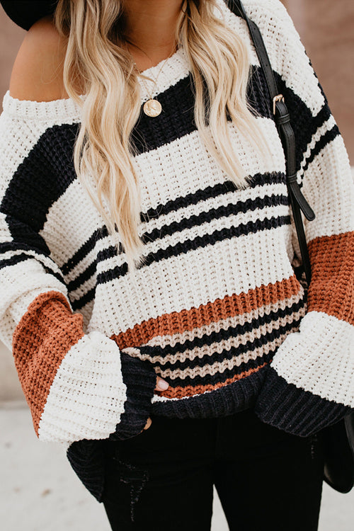 Coffee Time Stripe Knit Sweater