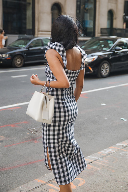 Teigen Black and White Tartan Bowknot Midi Dress