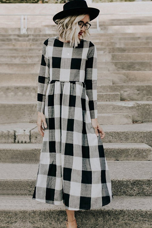 Countryside Vibe Tartan Long Sleeve Maxi Dress