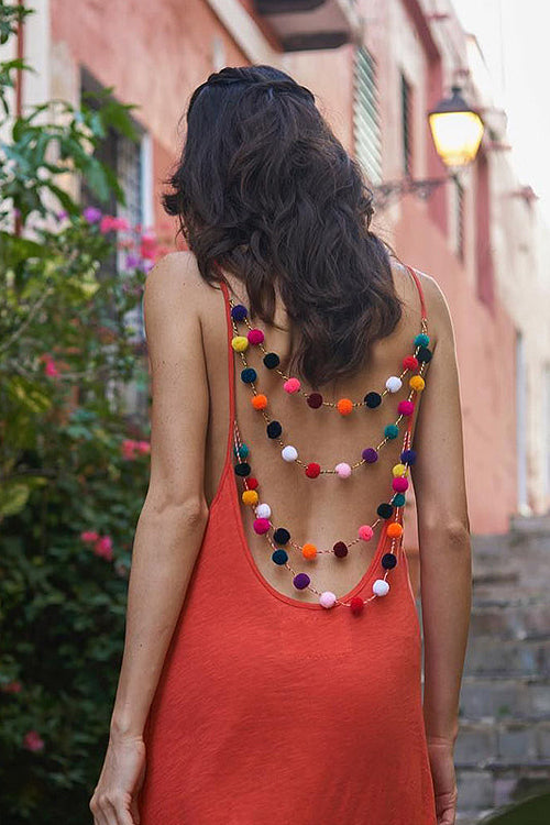 Colorful Fluffy Ball Backless Dress - 3 Colors