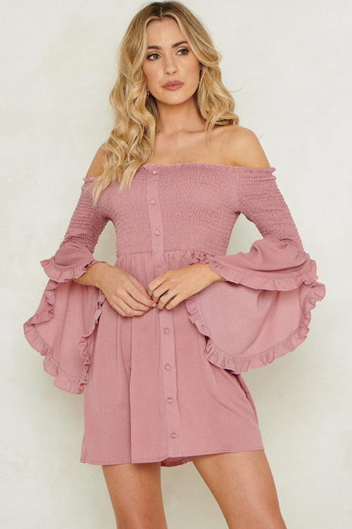 Multiflora Rose Pleated Ruffle Up Mini Dress