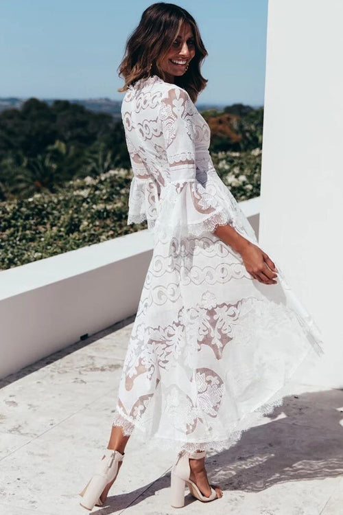 Dreams of Romance Lace High&Low Midi Dress