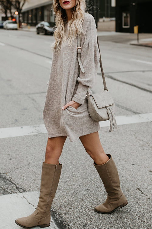 When We First Met Khaki Long Sleeve Pocket Dress