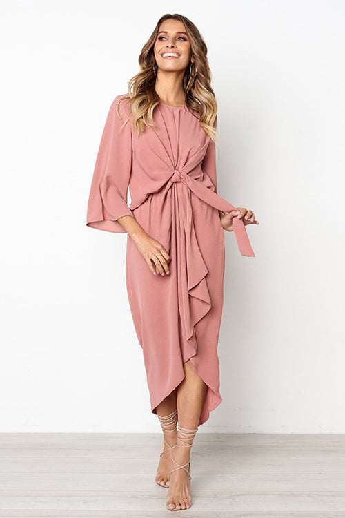 Elegant Lady Half Sleeve High&Low Midi Dress - 2 Colors