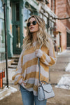 Rainy Day Stripe Loose Style Knit Sweater - 2 Colors