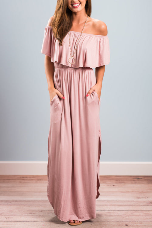 Milani Peach Off Shoulder Maxi Dress - 4 Colors