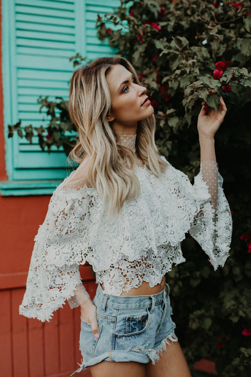 Love and Joy Lace Flower Embroidery Top
