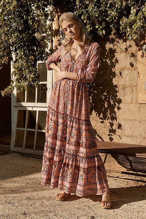Love Blossoms Boho Print High-slit Maxi Dress - 3 Colors
