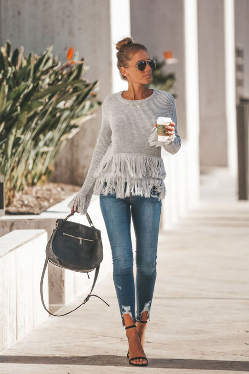 Go Your Own Way Grey Tassel Sweater