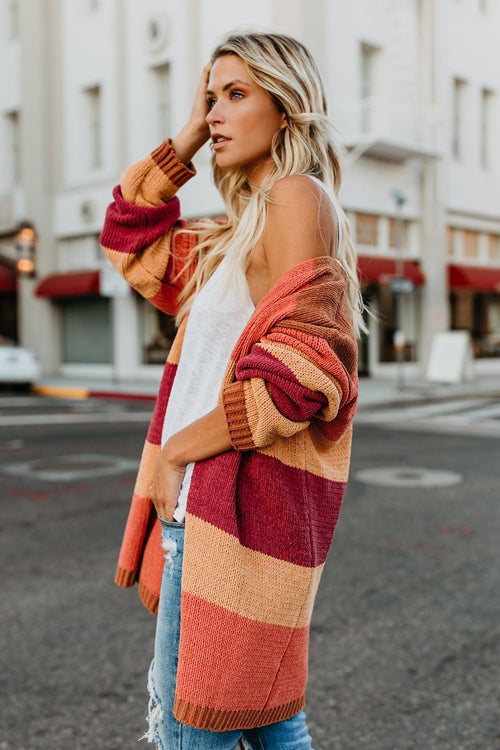Roman Rusty Orange Stripe Cardigan