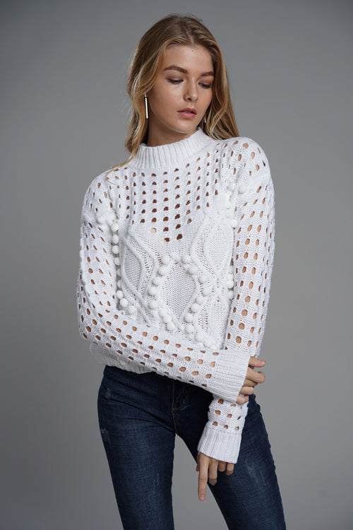 Do What You Love Hollow-out Cute Sweater - 2 Colors