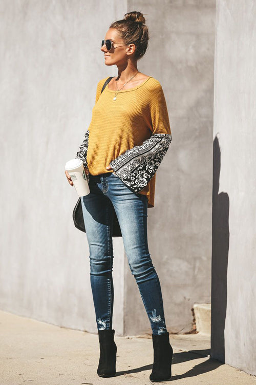 Chic Treat Print Sleeve Knit Blouse - 2 Colors
