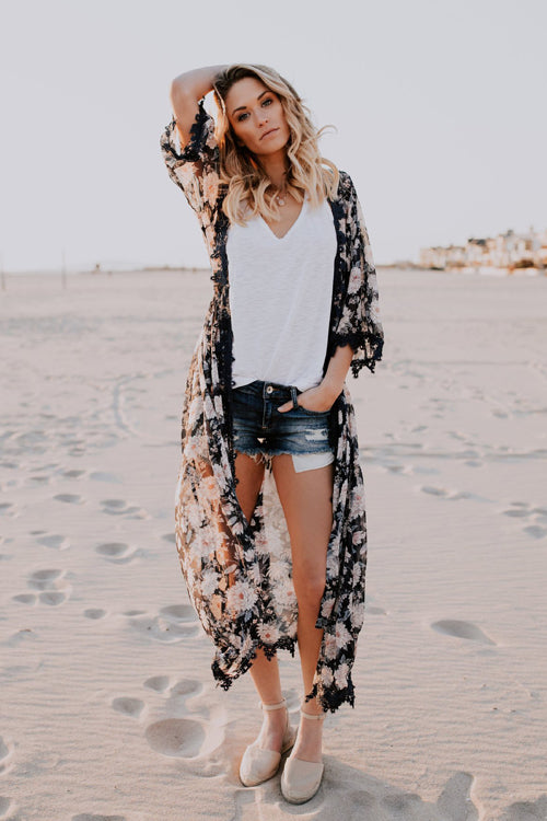 Let's Go to The Beach Flower Chiffon Cardigan