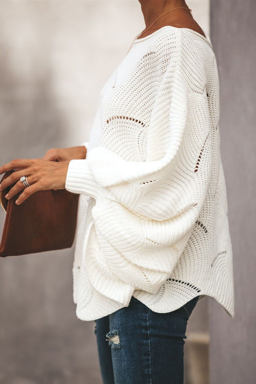 Petal Bat-wing Sleeve Oversized Knit Sweater - 2 Colors