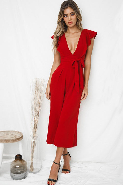 Ready For It Ruffle Shoulder Jumpsuit - 3 Colors
