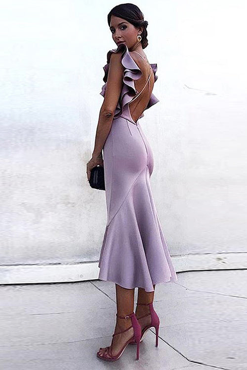 Heavenly Hues Ruffle Backless Midi Dress - 5 Colors