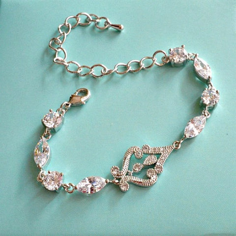 crystal bridal wedding bracelet