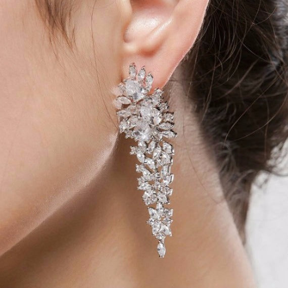 Long Crystal Chandelier Earrings, Art Deco CZ Cluster Wedding Earrings, Long Cubic Zirconia Bridal Earrings, Wedding Jewelry