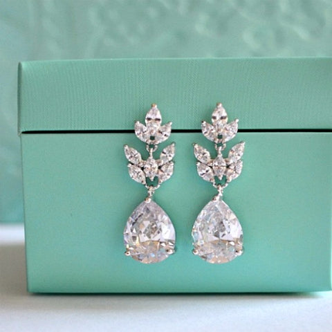 marquise leaf teardrop bridal earrings