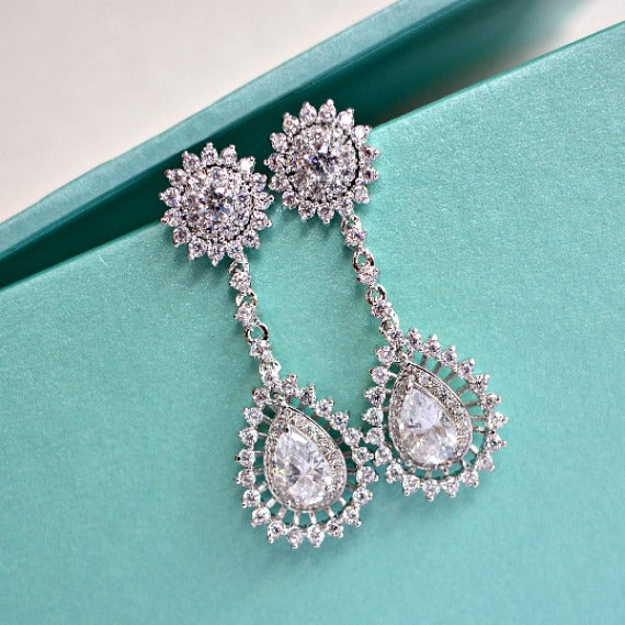 CZ Art Deco Teardrop Chandelier Bridal Earrings. Cubic Zirconia Crystal Halo Sunburst Pageant Long Dangle Wedding Earrings. Wedding Jewelry