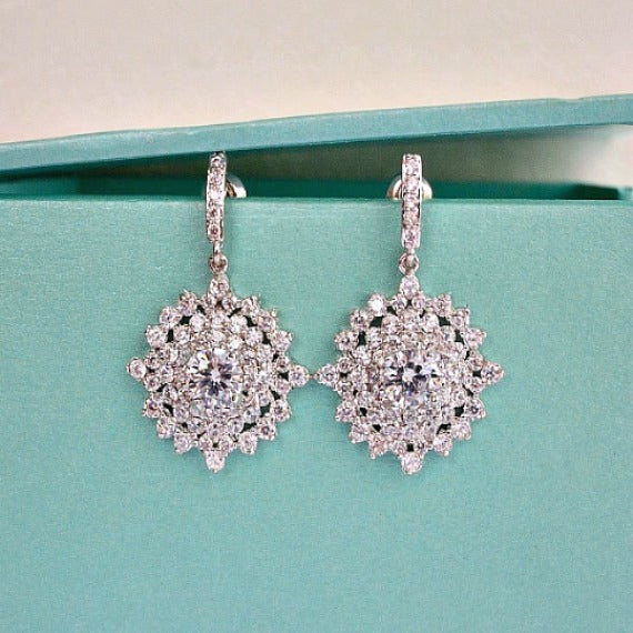Diamond Shape Cubic Zirconia Cluster Wedding Earrings. Kite Bridal Crystal Drop Earrings. CZ Crystal Bridal Earrings. Bridesmaids Earrings