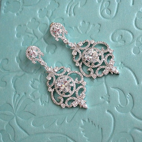 crystal chandelier bridal earrings