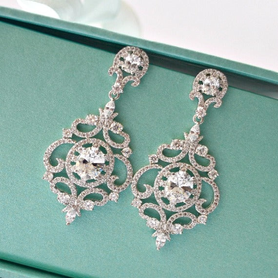 art deco crystal drop bridal earrings