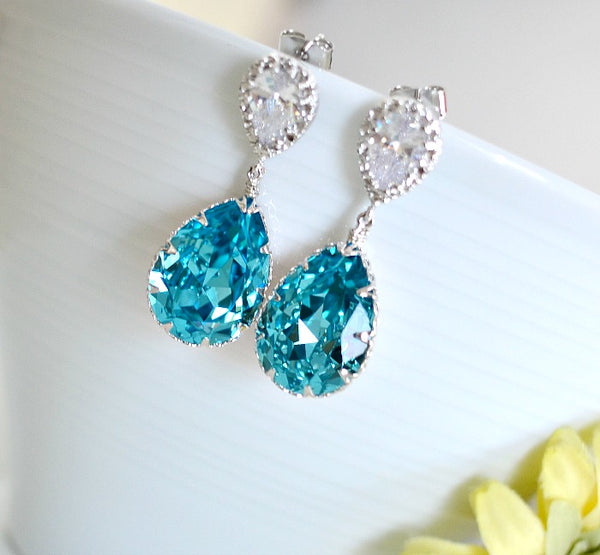 Light Turquoise Swarovski Crystal Teardrop Matte Rhodium Plated Cubic Zirconia Bridal Earrings. Bridemaids Earrings. Bridal Wedding Jewelry