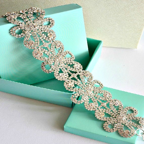 Silver Bridal Diamante Crystal Choker, Vintage Style Rhinestone Diamante Choker, Diamante Choker Necklace