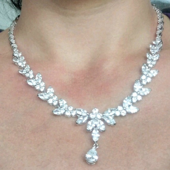 CZ crystal bridal jewelry set