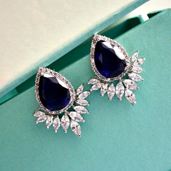 blue sapphire wedding earrings