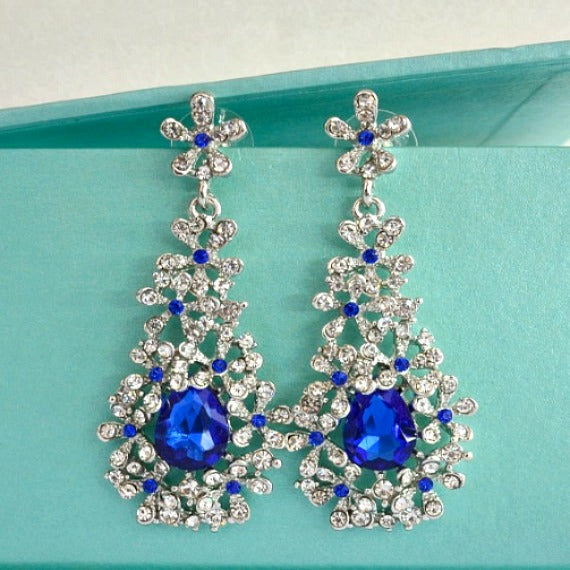 blue sapphire cluster wedding earrings