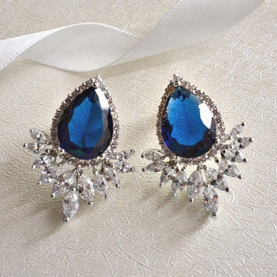 blue wedding stud earrings