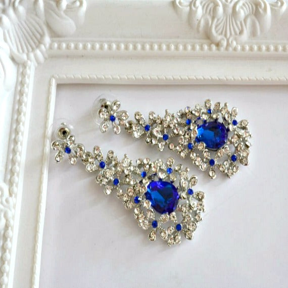 blue chandelier bridal wedding earrings