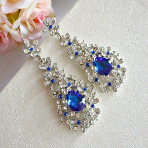 blue sapphire crystal bridal earrings
